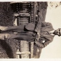 Great Uncle Roy Rieley in front of mainhouse.
