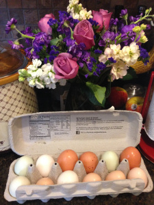 Beautiful, fresh eggs from spoiled rotten chickens.